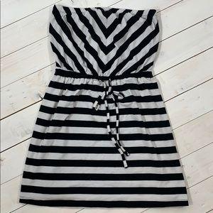 Mossimo Black White Strapless Mini Dress Size M